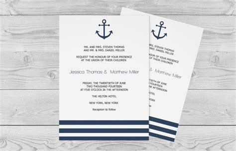 nautical wedding invitation template 5 x 7 navy anchor striped printable wedding invitation
