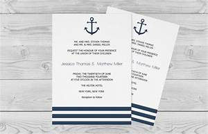 nautical wedding invitation template 5 x 7 navy anchor With 5 by 7 wedding invitation template