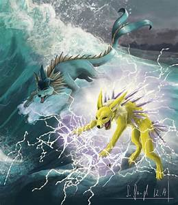 Vaporeon and Jolteon by SimonGangl on DeviantArt