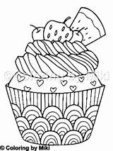 Cupcake Coloring Pizza Delicious Coloringbymiki sketch template