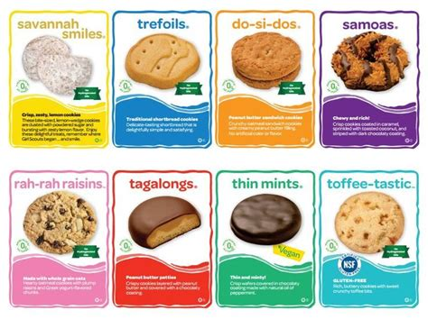 scout cookie cookie cards with information about each cookie variety available this year great reference