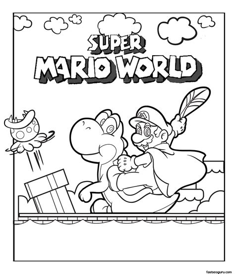 Print Out Super Mario World Coloring Pages For Kids