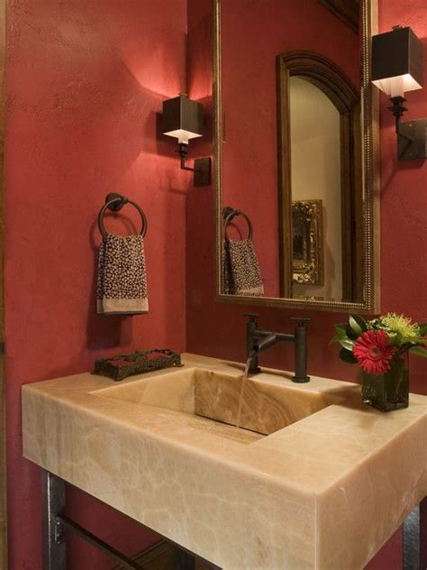 powder room earth red walls travertine colors match