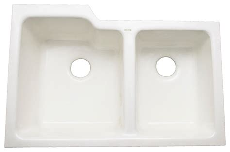 ceco stainless steel sinks ceco quot redondo quot enameled cast iron undermount 60 40