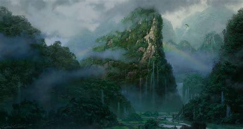 Art Artistic Nature Paintings Landscapes Tropical Jungles