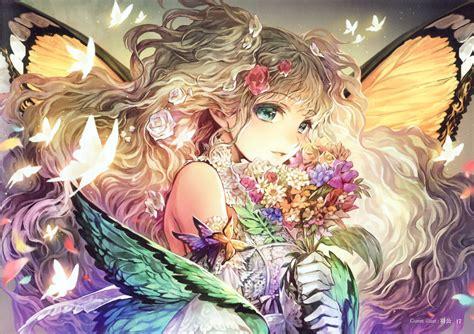 Anime Girl Flower Beautiful Butterfly Long Hair Cute Wings