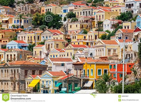 small house plans with porch colorful houses symi greece stock photo image 58883887