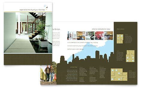 property pamphlet urban real estate brochure template design