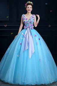 100%real light blue flower ball gown medieval dress ...
