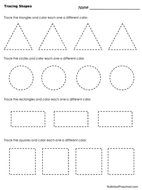 tracing shapes worksheet nuttin but preschool