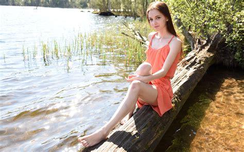 Download Photo 1680x1050 Lapa Pala Taressa Model Teen Pretty Russian Dress Lake Non