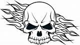 Coloring Fire Skulls Flames Getdrawings sketch template