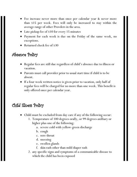daycare contract template home daycare contracts daycare daycare contract daycare ideas and childcare
