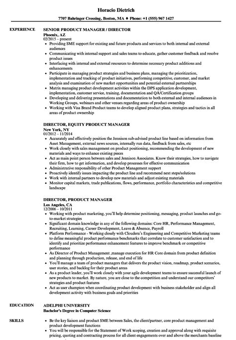 Great Product Manager Resume by Director Product Manager Resume Sles Velvet