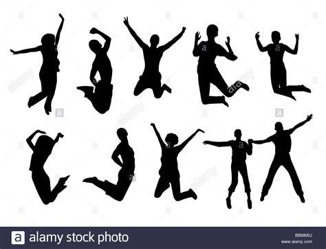 Silhouette Persone Sedute Graphic Illustration Silhouette Jump Stock Photo