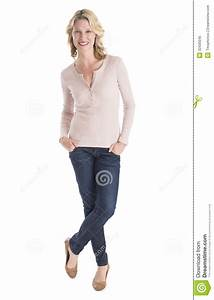 Beautiful Woman Standing Hands In Pockets Over White ...