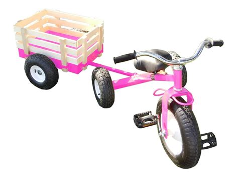 Classic Pink Tricycle With Wagon Set Pull Along Trike Toy