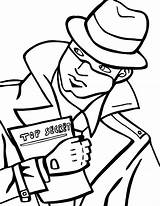 Spy Coloring Detective Pages Secret Holding  Spies Drawing Template Fresh Printable Print Beat Band Decode Puzzle Cipher Netart Sketch sketch template