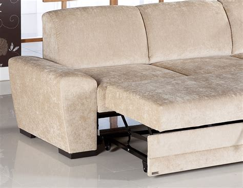Cream Fabric Modern Sectional Sofa Wstorage Space