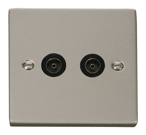 click scolmore vppnbk twin coaxial socket outlet black