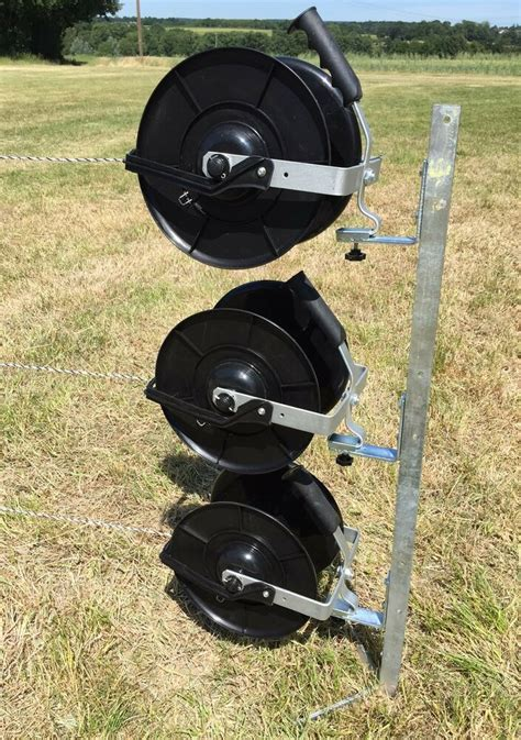 electric fence reel kit mounting 3 x geared fencing reels with brackets ebay