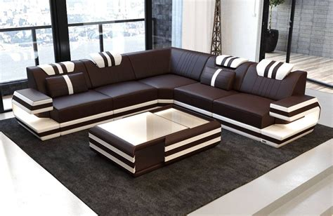 Leather Sofa by Design Sectional Sofa San Antonio L Shape With Led Lights
