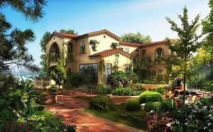 Houses Gardens Mansion Shrubs Cities 3D Graphics Wallpaper ...