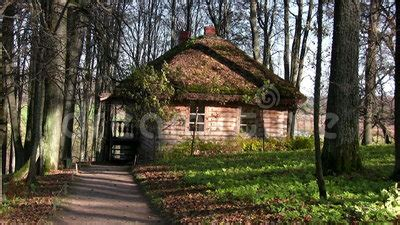house in autumn forest stock footage 36844985