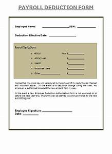 Payroll Deduction Form Is The Sum Of The Wages Of All The