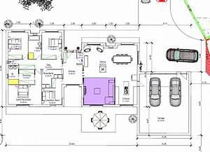 plan de maison plain pied 4 chambres avec garage With plan maison en longueur 3 symboles pour plan de construction cuisine et salle de bains
