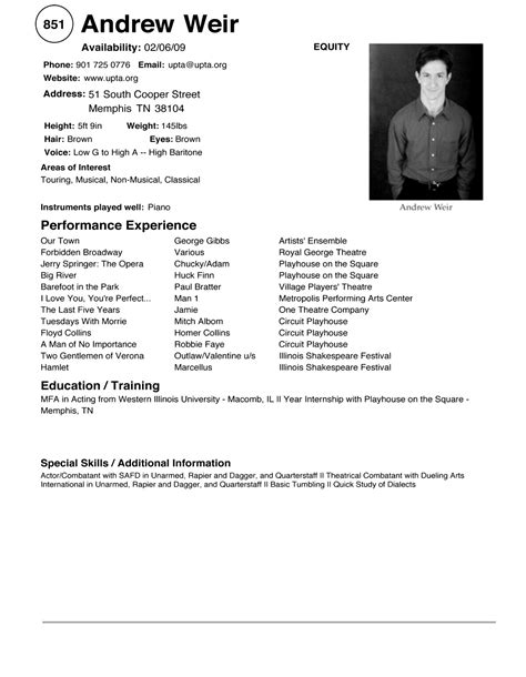 doc 7911024 acting cv 101 beginner acting resume exle