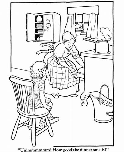 Coloring Pages Dinner Thanksgiving Kitchen Cooking Mom