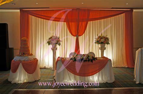reception decor bright corals joyce wedding services