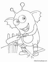 Cricket Monster Coloring Playing sketch template