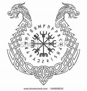 Dessin Symbole Viking : vegvisir icelandic magical staves and the scandinavian pattern in the form of a dragon boat ~ Nature-et-papiers.com Idées de Décoration