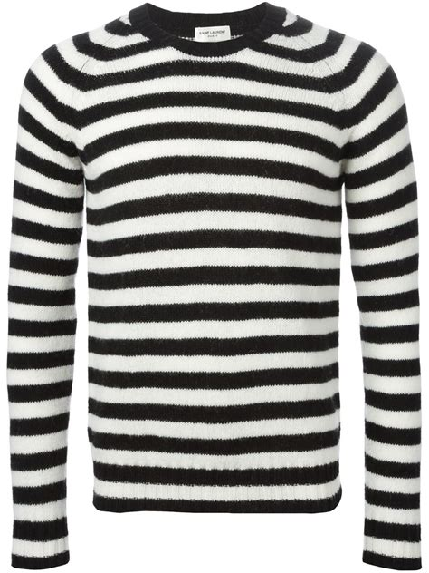 black and white striped sweater laurent striped wool sweater in white for save