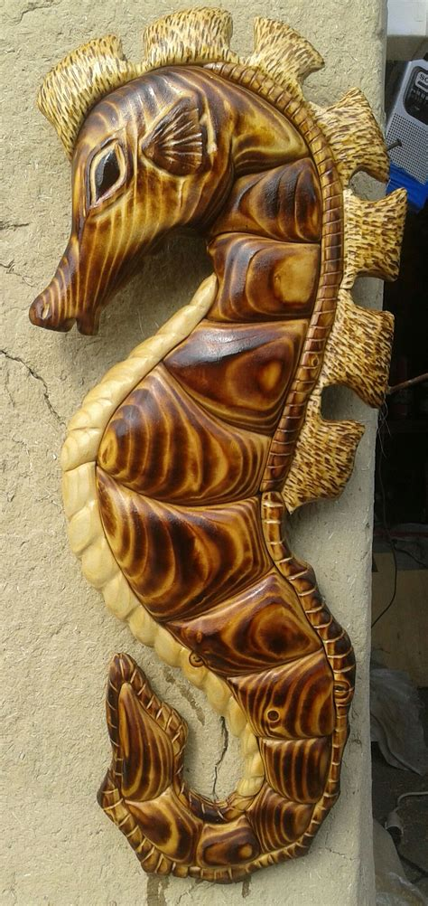 seahors intarsia  wood   wood carving