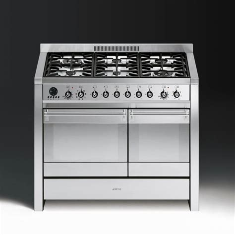 smeg gas range cookers smeg opera a2 8 dual fuel 100cm range cooker stainless steel with chrome trim