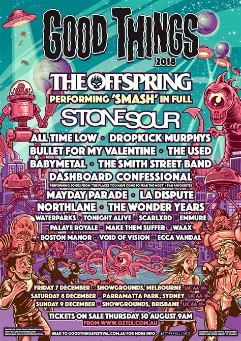 Melbourne Line Up by The Offspring Sour Lead 2018 Things Festival