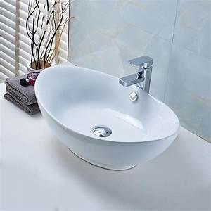 Aruher lavabo de salle de bain vasque a poser evier en for Salle de bain design avec evier ceramique a poser