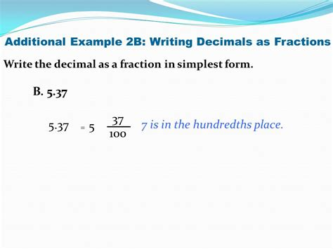 writing decimals as fractions ppt
