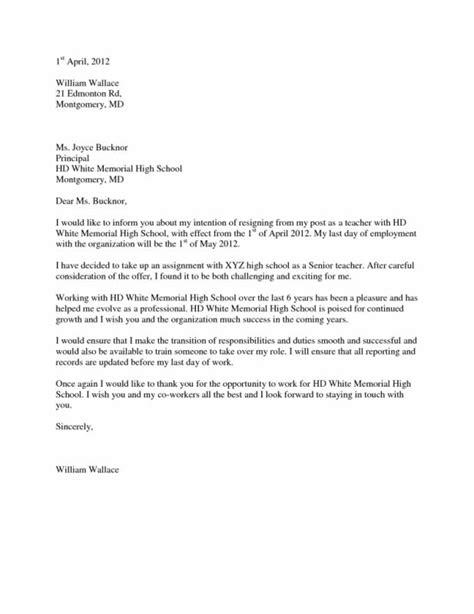 Resignation Letter By Teacher To Principal - Sample Resignation Letter