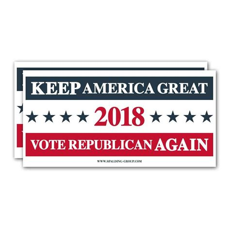 "(Pack of 2) Bumper Sticker - ""Vote Republican 2018"