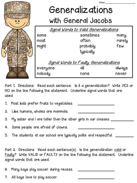 generalizations anchor chart includes freebie reading
