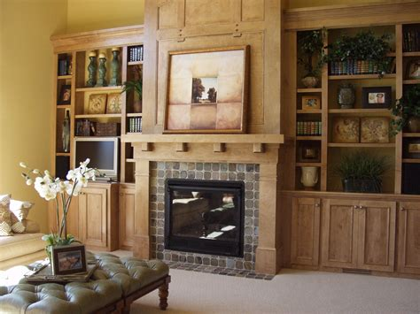Awesome Built In Fireplace Living Room Shelves With Wooden