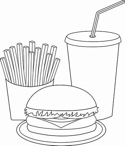 Fries French Coloring Pages Meal