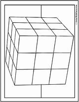 Coloring Cube 3d Pages Shape 3x3 Square Squares Colorwithfuzzy sketch template