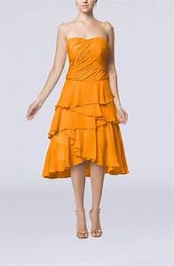 orange romantic a line sleeveless backless chiffon ruching With orange wedding guest dress