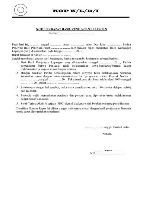 Format Berita Acara Rapat by Contoh Laporan Rapat Contoh 36