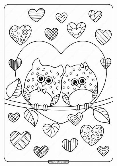 Coloring Hearts Owls Pdf Heart Printable Animals